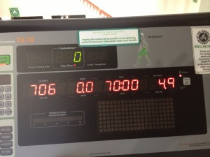 70 minutes of HIIT on the treadmill...over-estimation of calories burned.